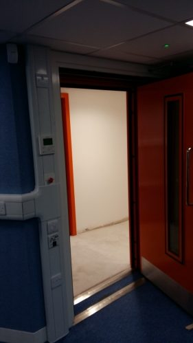 A photo of an acoustic door with acoustic vision panel